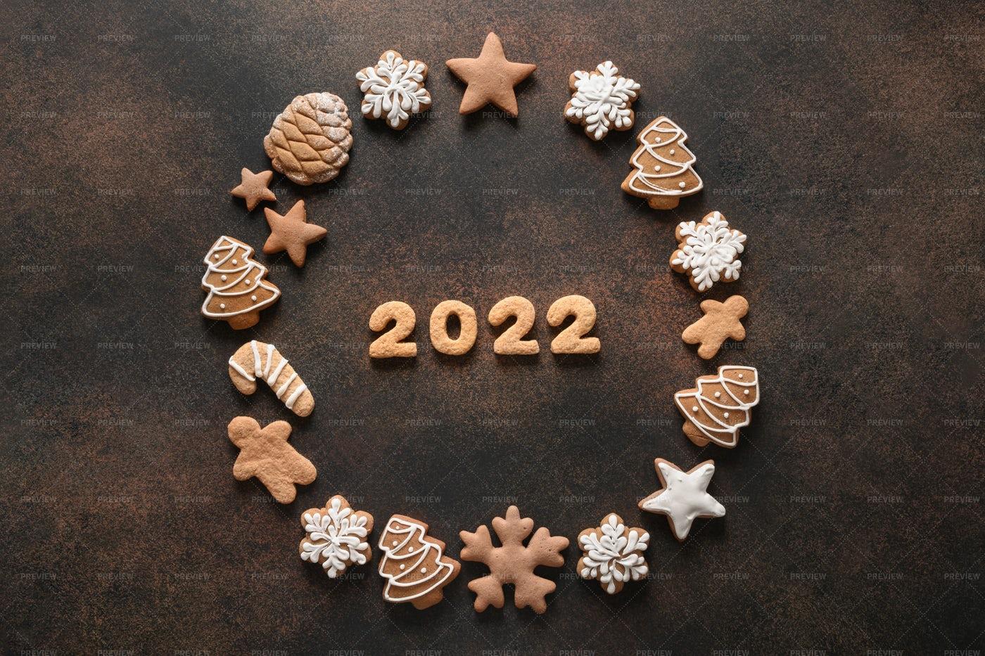 Christmas Wreath Of Assorted Cookies: Stock Photos