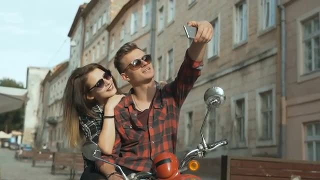 Young Lovers Taking Selfie: Stock Video