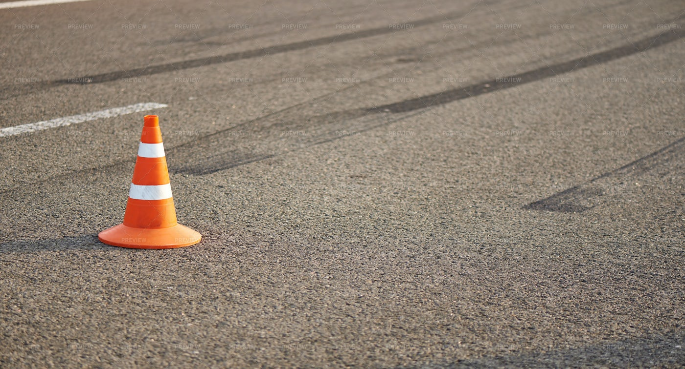 Traffic Cone On Road: Stock Photos