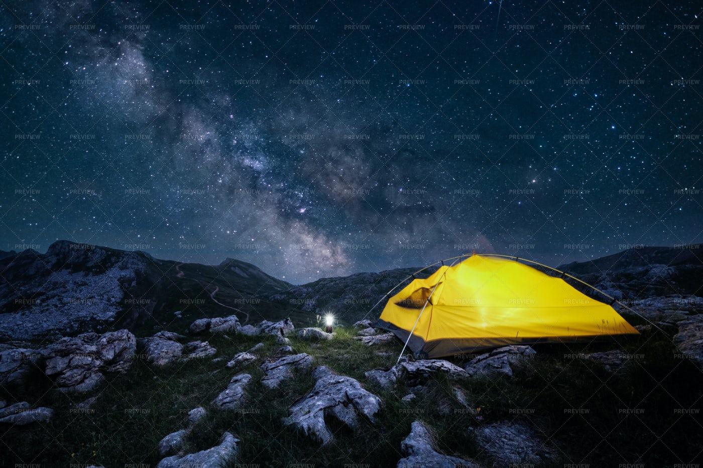 Yellow Tent At Night: Stock Photos