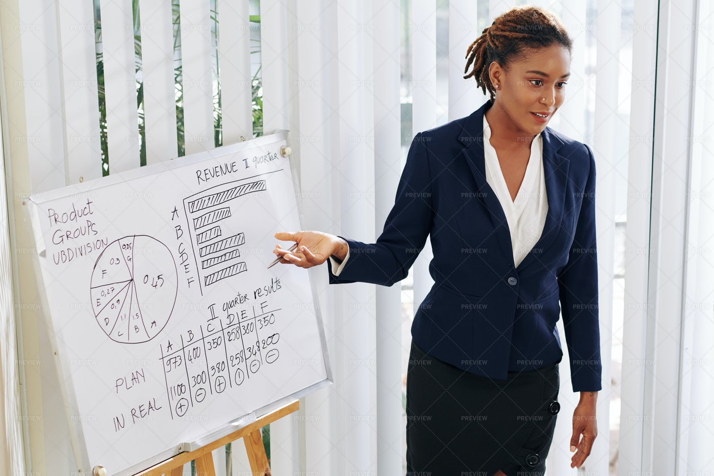 Businesswoman Showing Results Of Work: Stock Photos