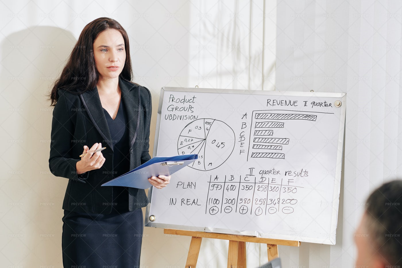 Female Entrepreneur Showing Work Results: Stock Photos