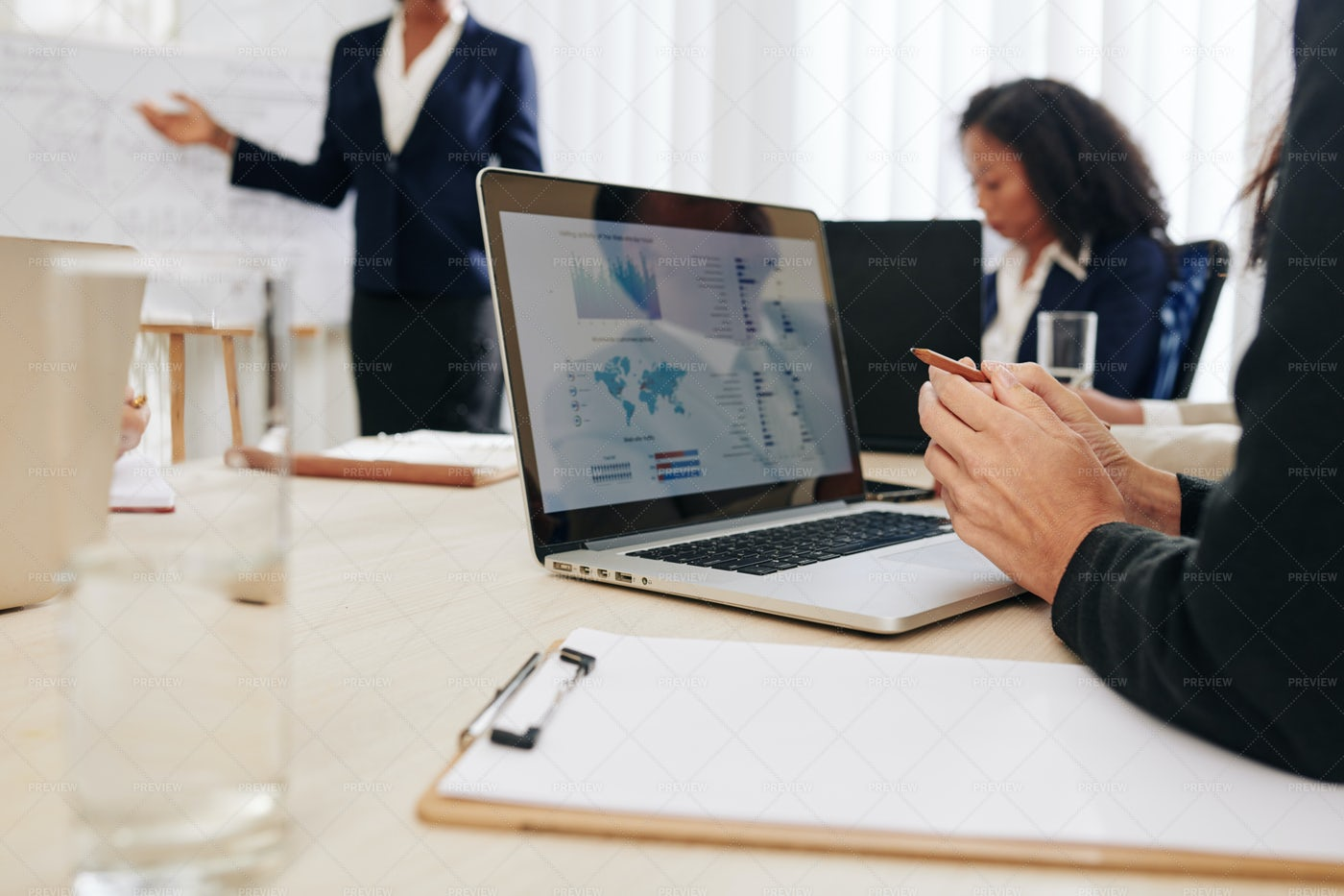 Woman Attending Business Meeting: Stock Photos