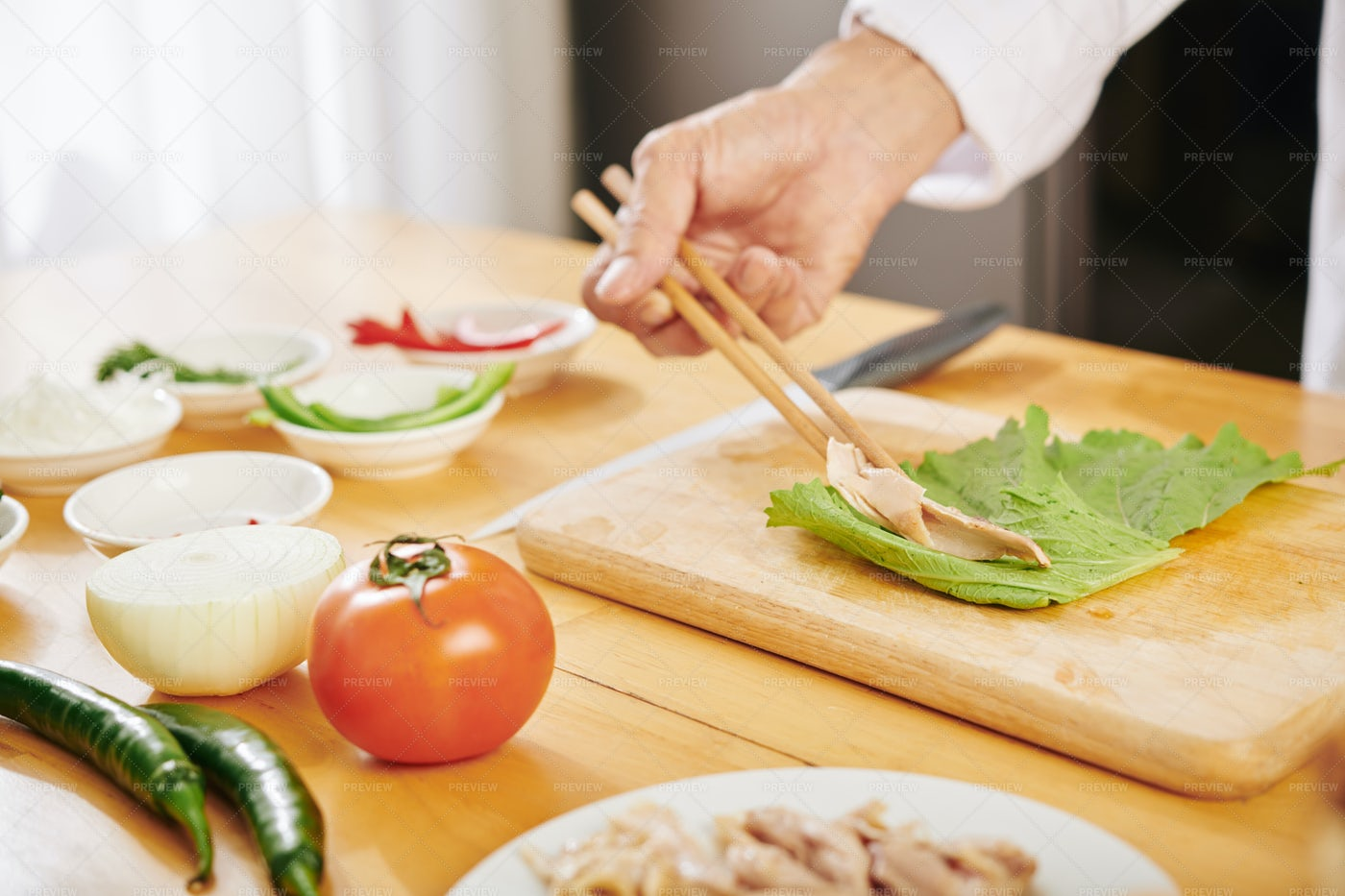 Cook Making Chiken Roll: Stock Photos