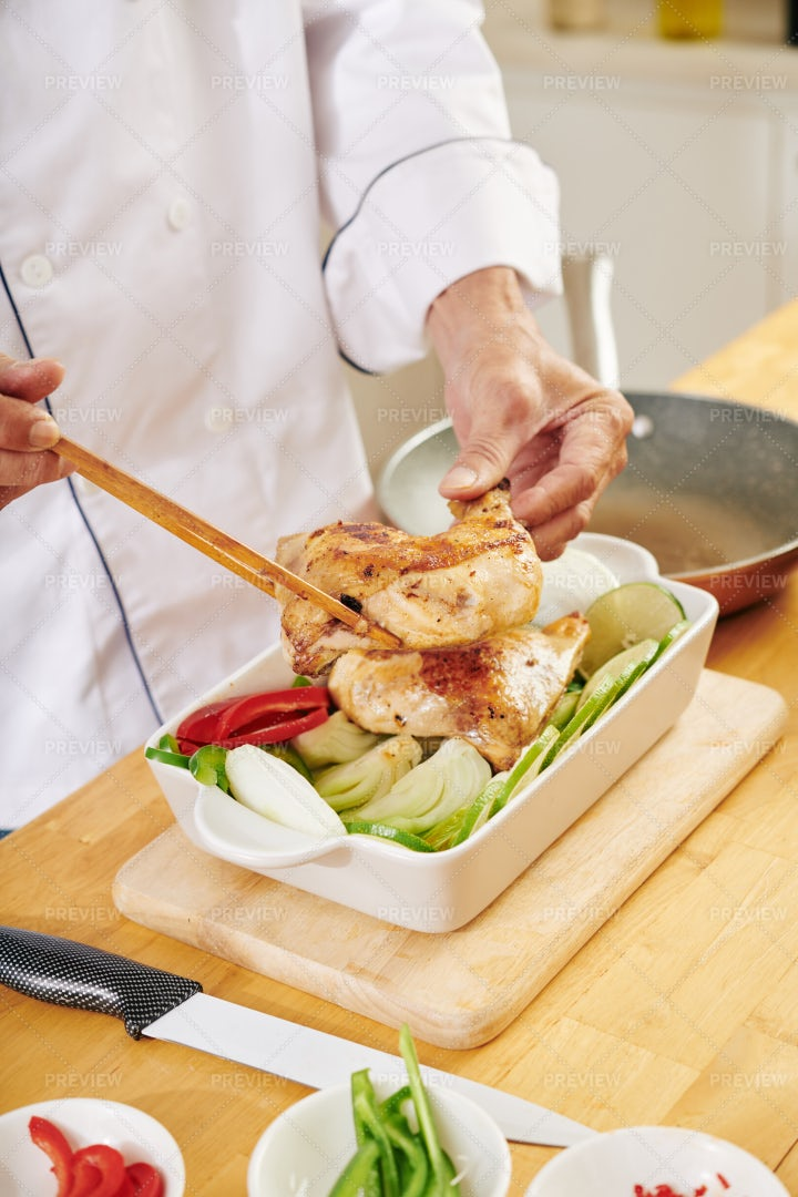 Preparing A Chicken Dish: Stock Photos