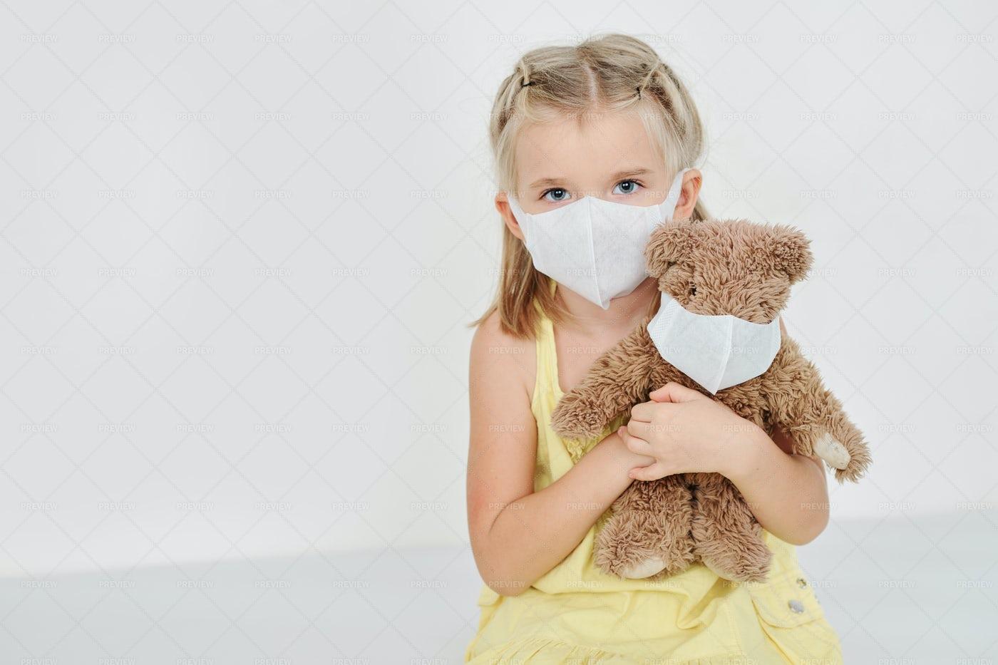 Sick Girl In Medical Mask: Stock Photos