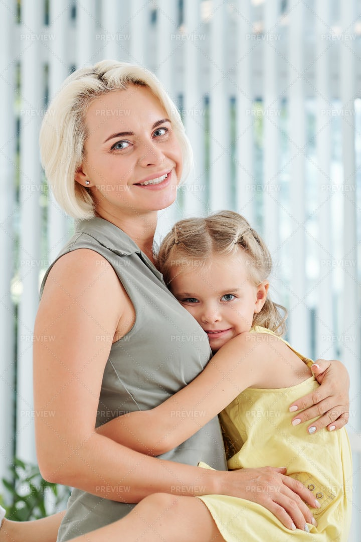 Mother And Daughter Hugging: Stock Photos