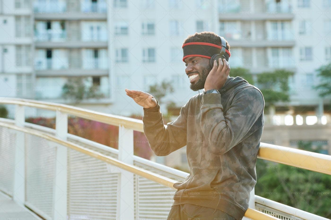 Man Dancing To The Music In Headphones: Stock Photos