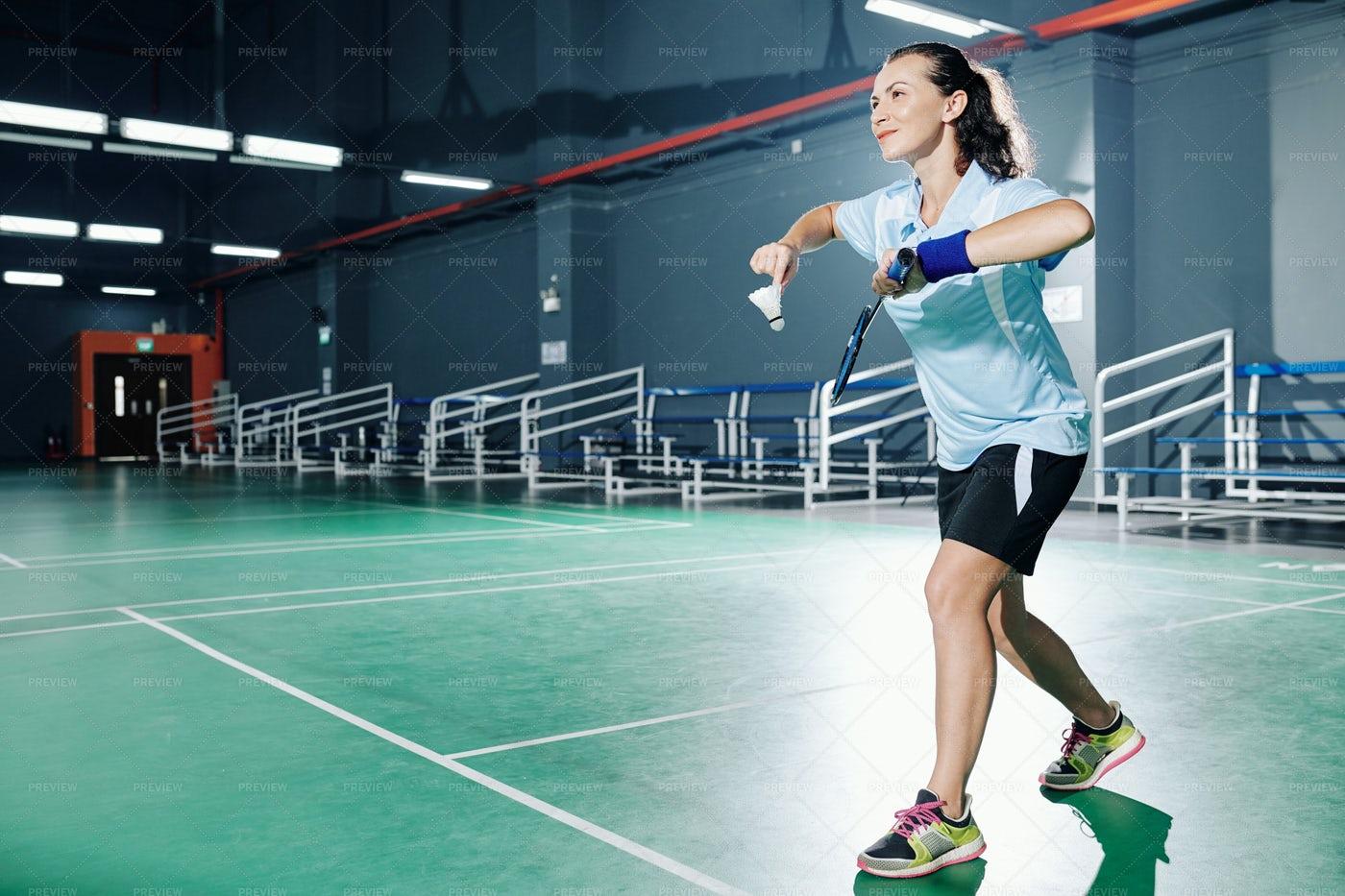 Woman Playing Badminton: Stock Photos