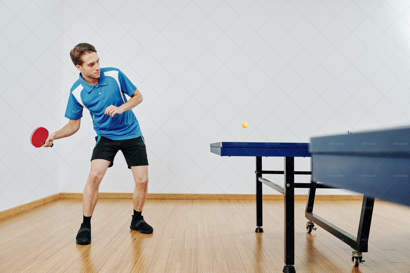Tennis Player Hitting Ball: Stock Photos
