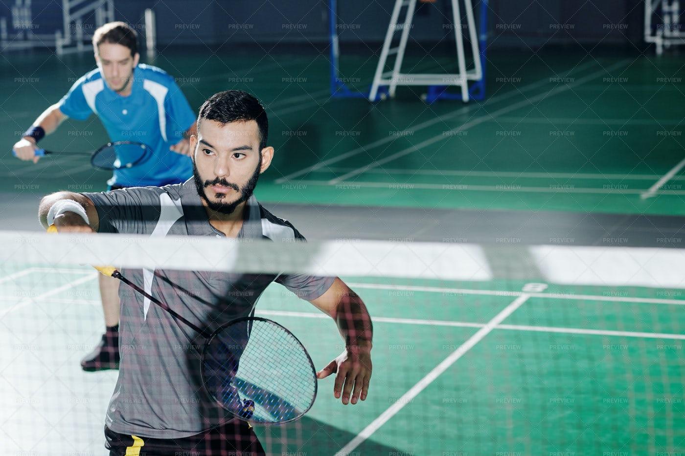 Badminton Double Team: Stock Photos