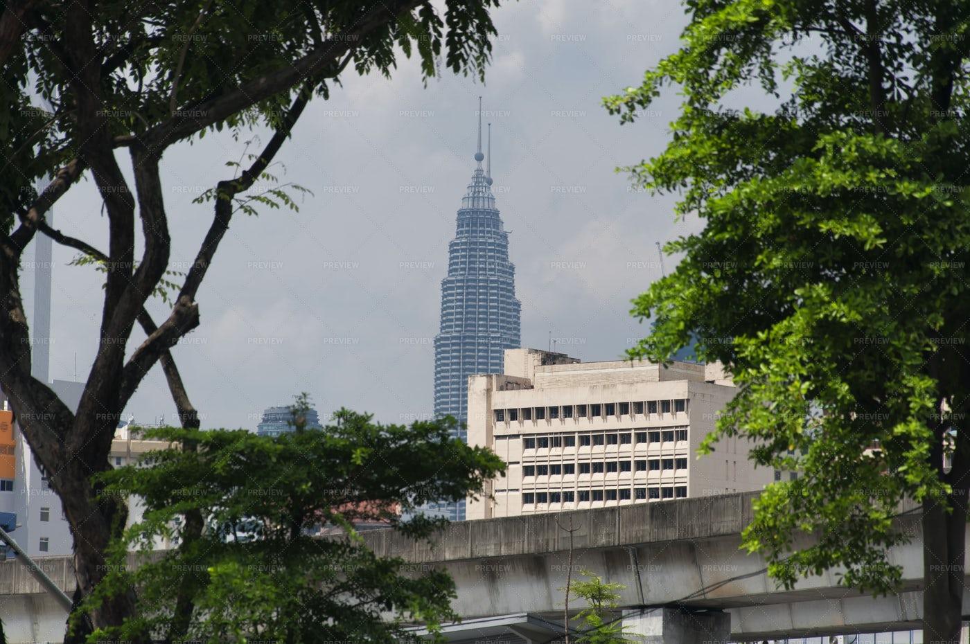 Petronas Tower Skyline In Kuala Lumpur: Stock Photos