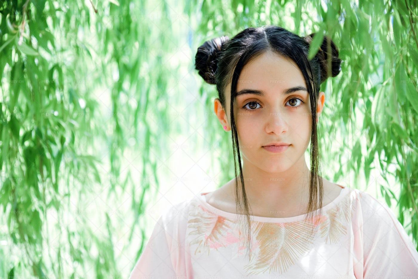Teen Standing Under Tree: Stock Photos