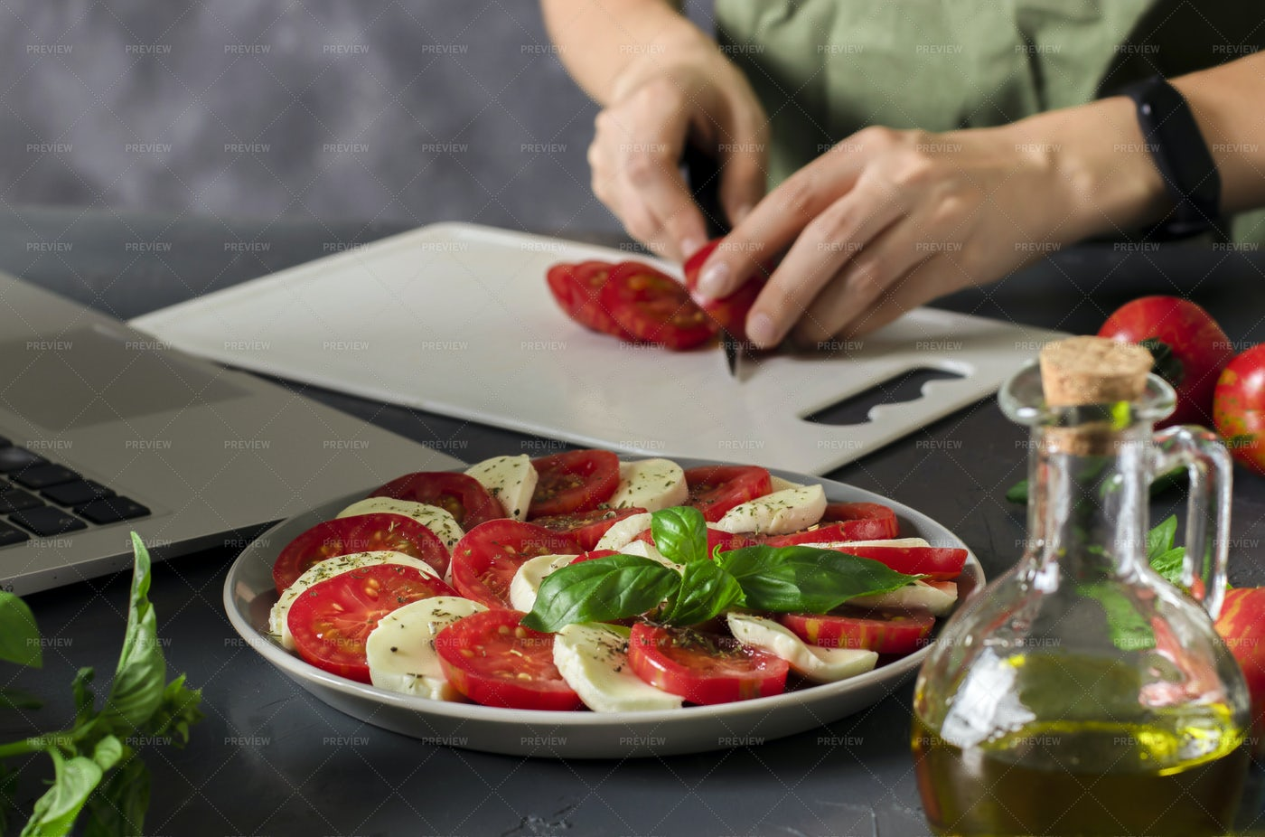 Learning To Cook Online: Stock Photos