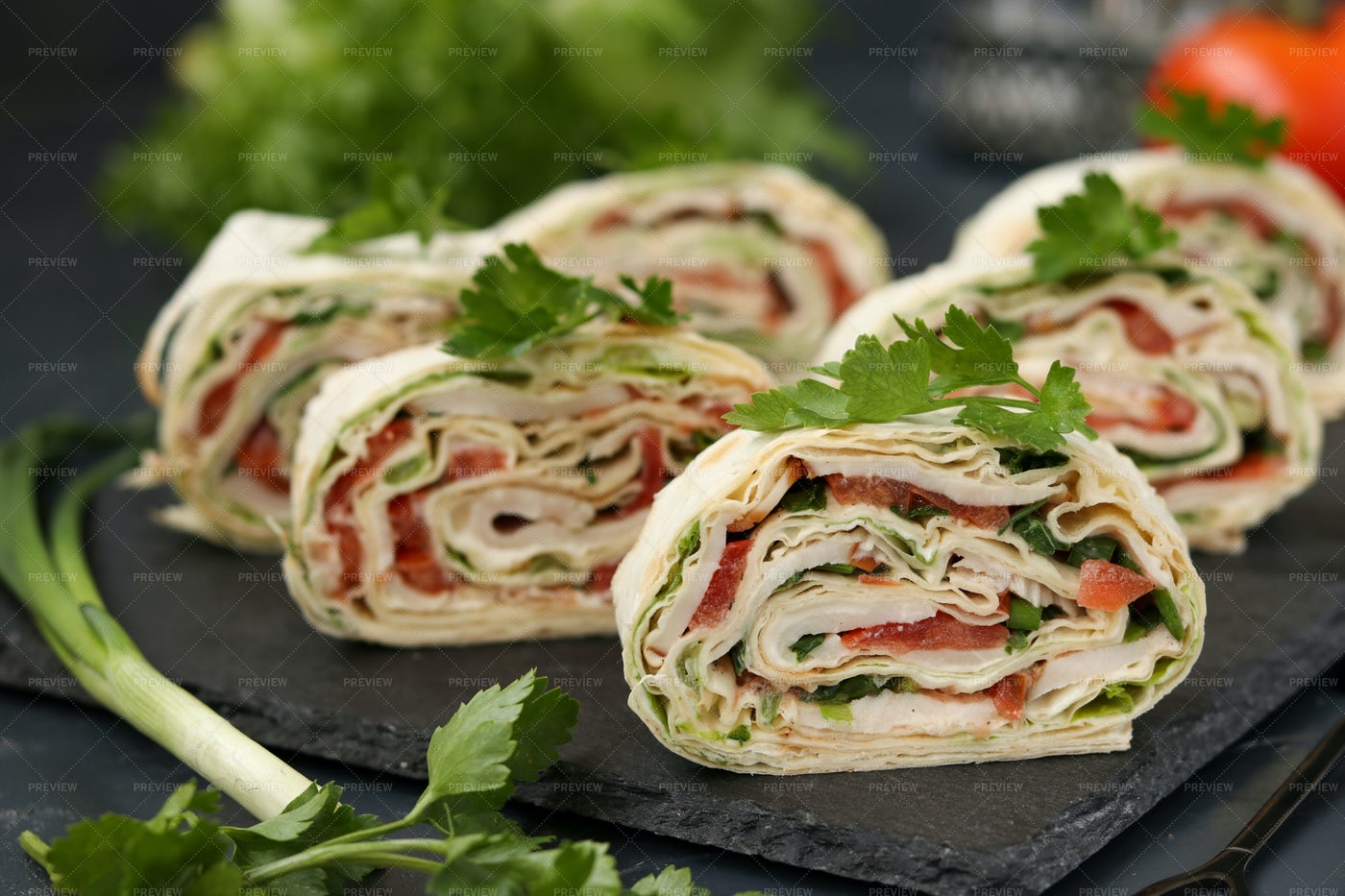 Lavash Roll With Smoked Chicken: Stock Photos