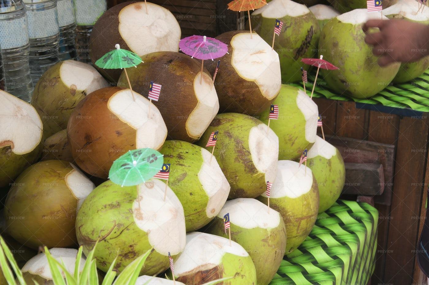 Coconut Drinks In Market: Stock Photos