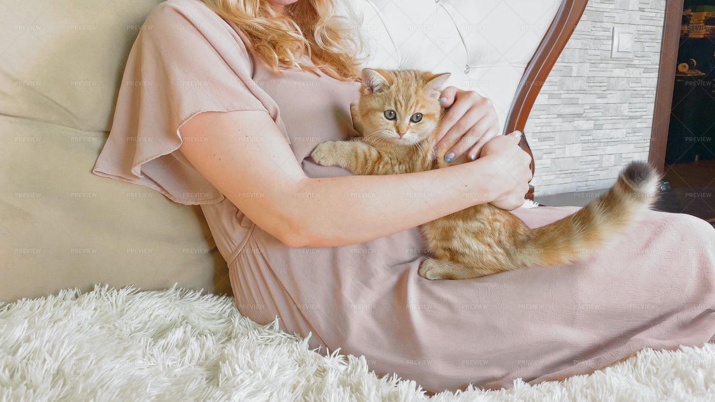 Pregnant Woman And Kitten: Stock Photos