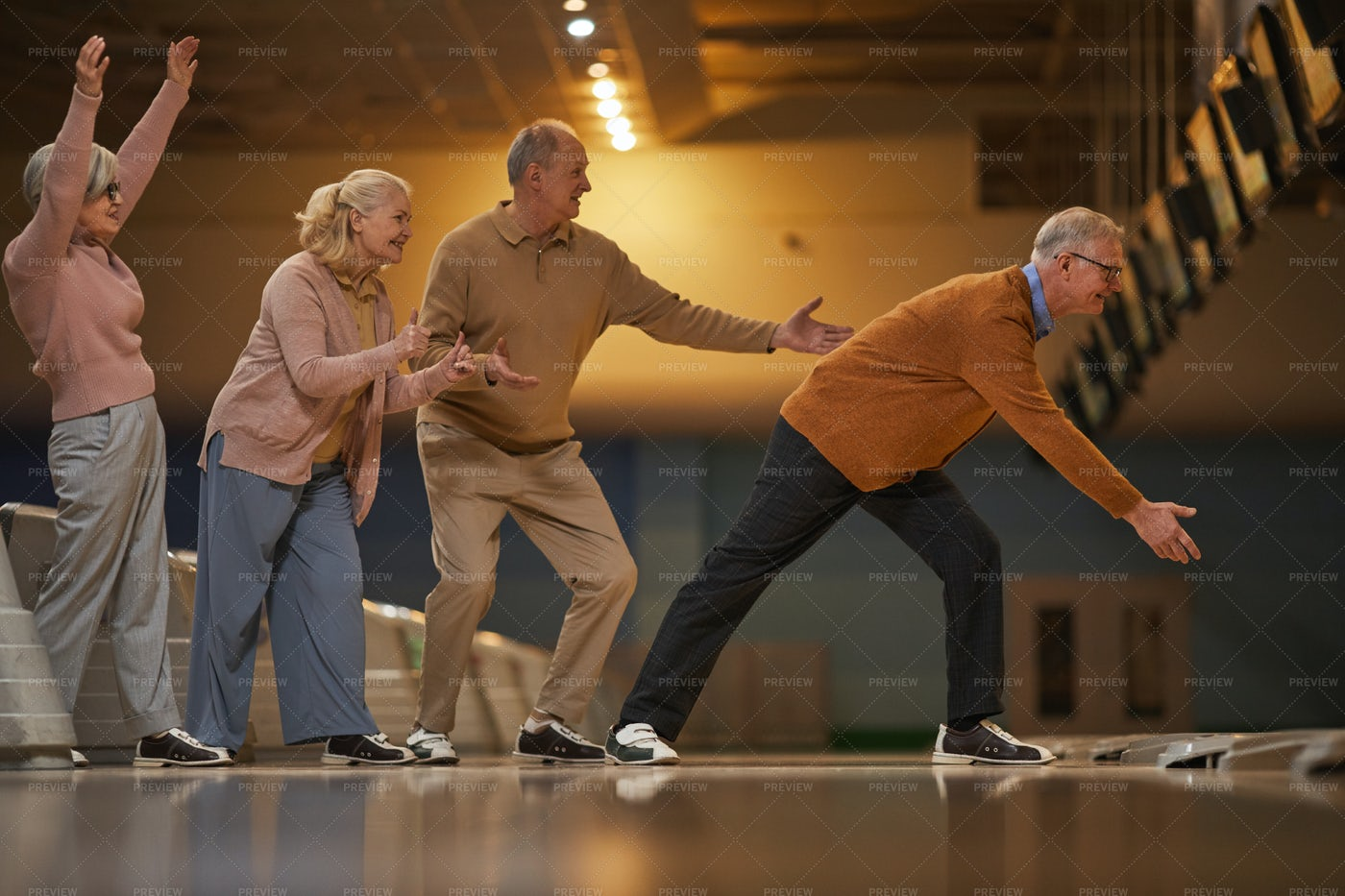 Senior People Playing Bowling: Stock Photos