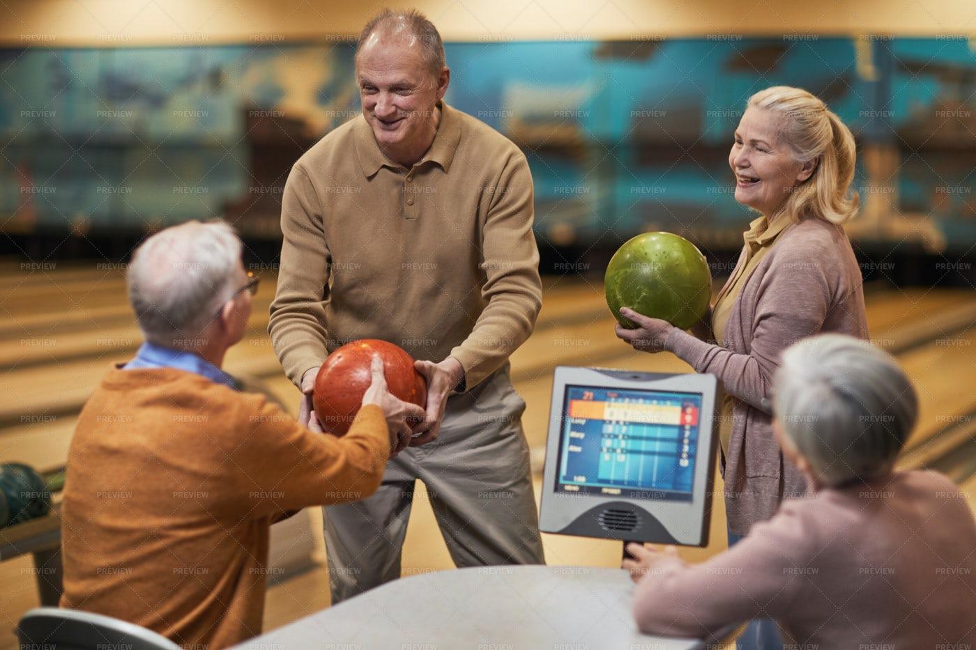 Senior People Enjoying Bowling: Stock Photos
