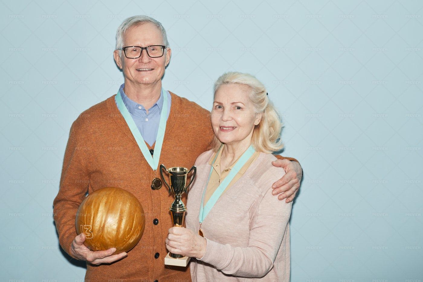Couple Of Senior Bowling Players: Stock Photos