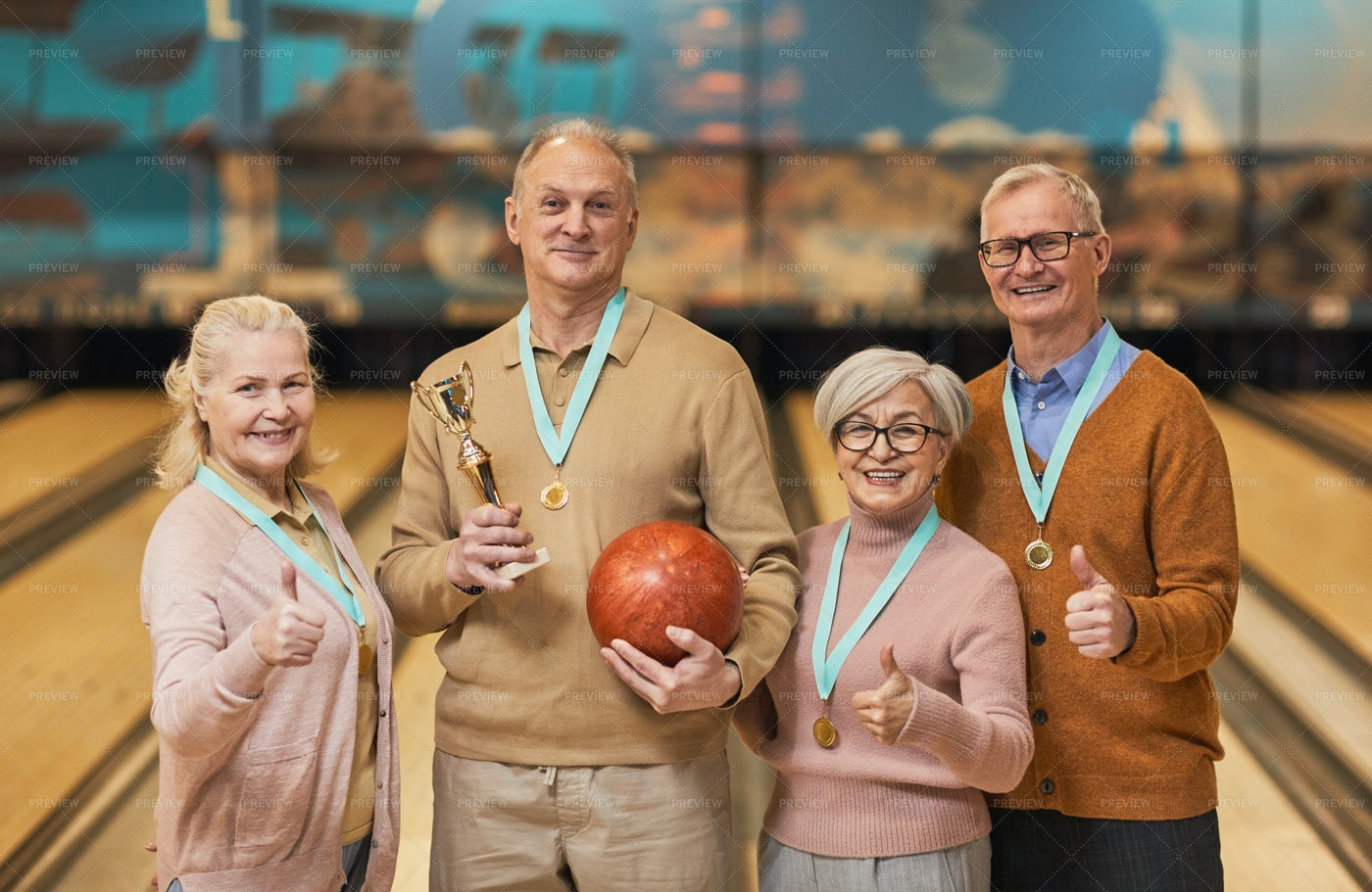 Senior Bowling Team: Stock Photos