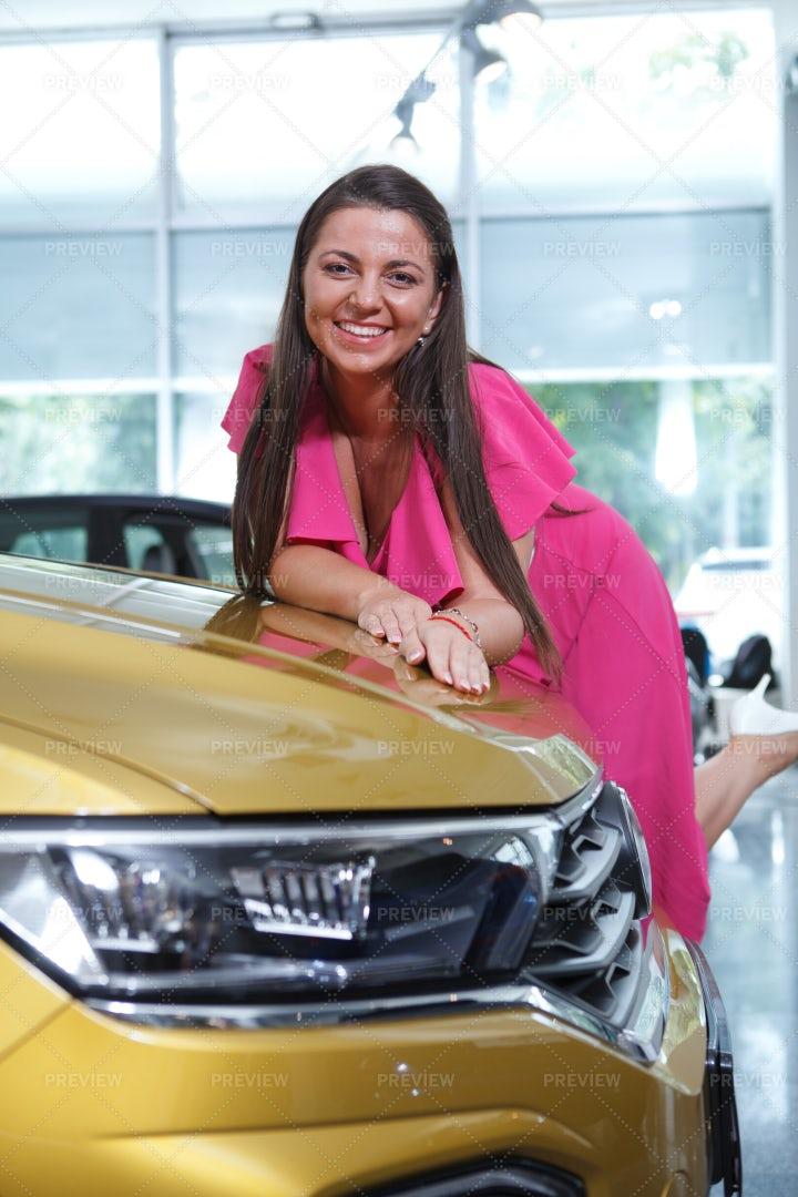Woman Choosing New Car: Stock Photos