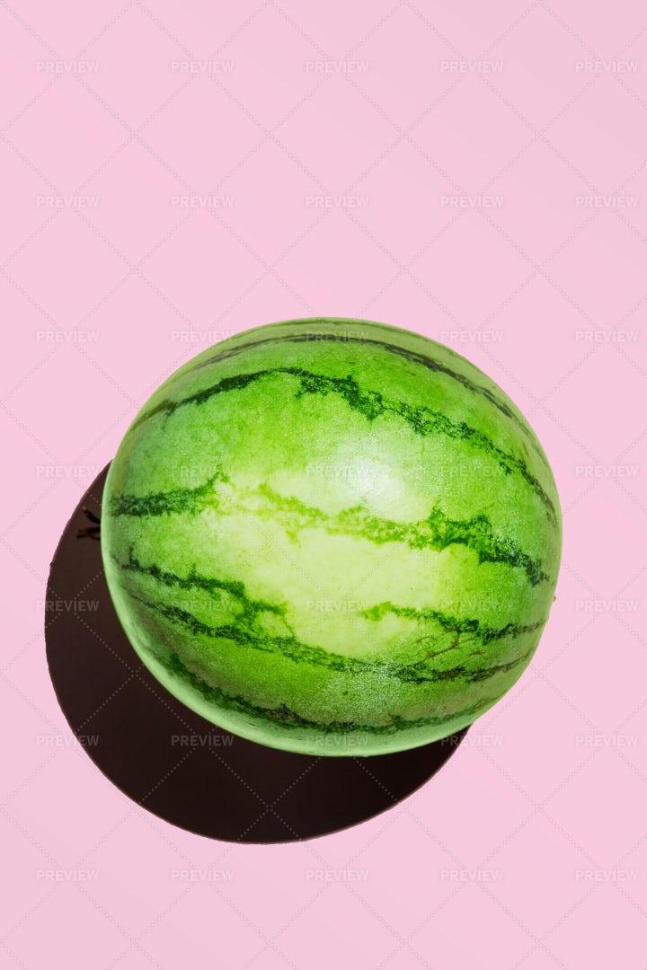 Mini Watermelon On Pink: Stock Photos
