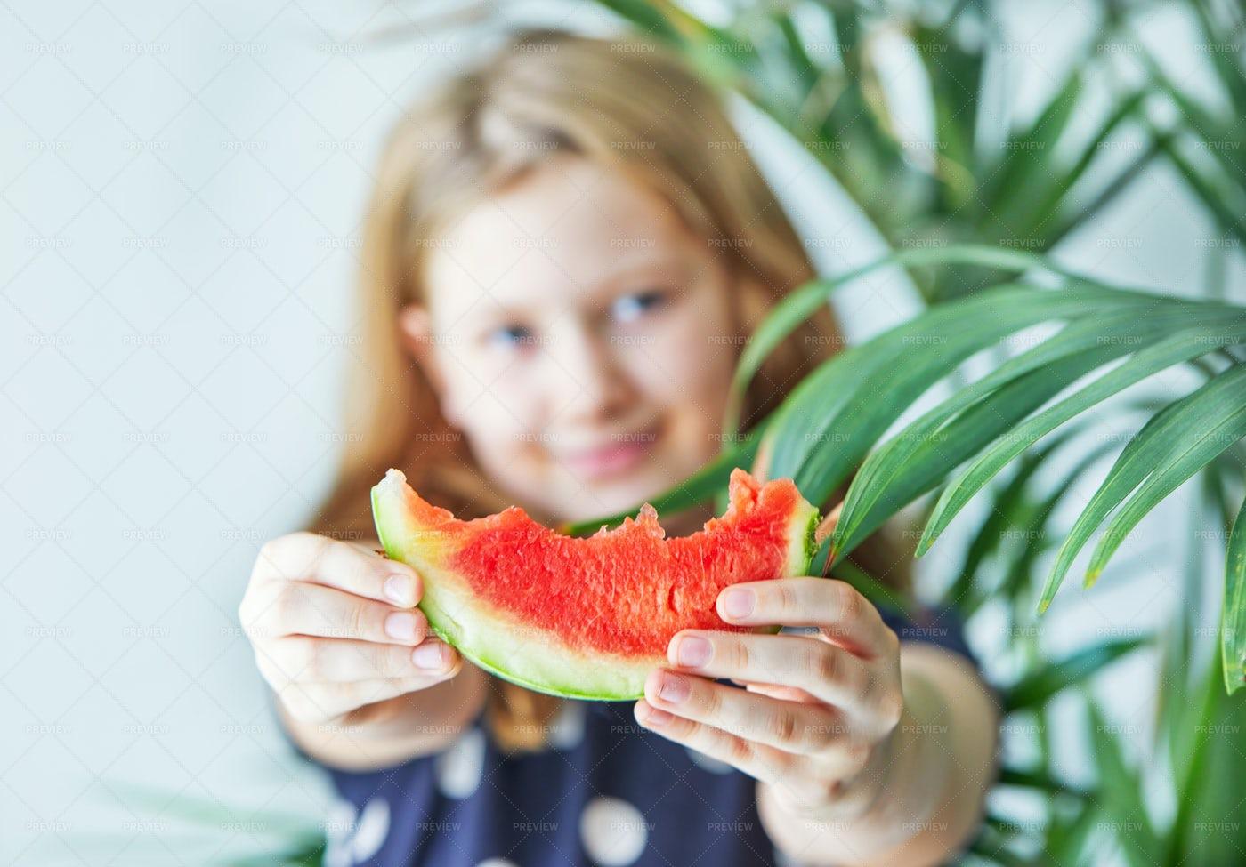 Teenage Girl With Watermelon: Stock Photos