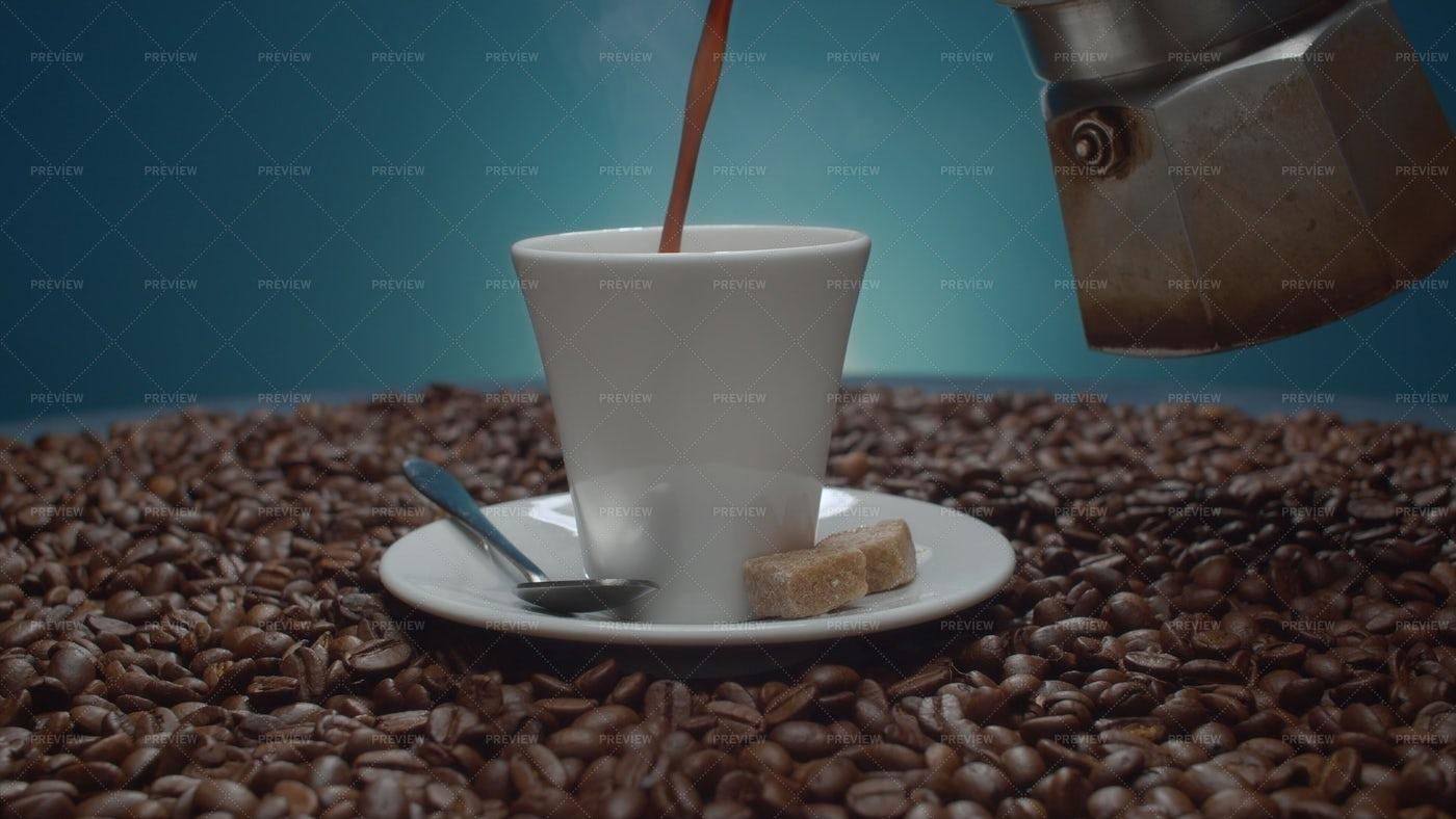 Coffee Pouring Into A Cup: Stock Photos