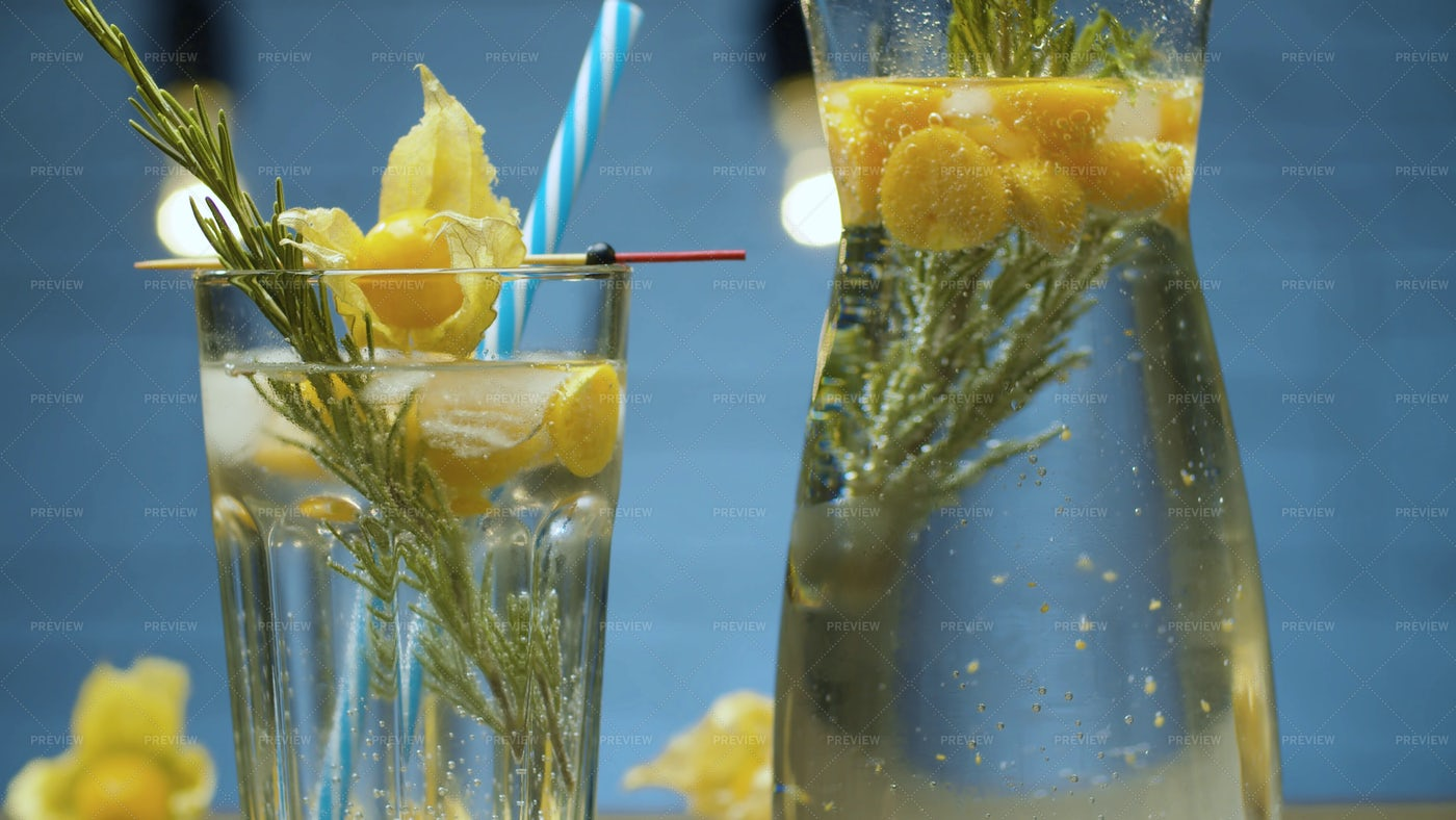 Rosemary And Physalis Cold Drink: Stock Photos
