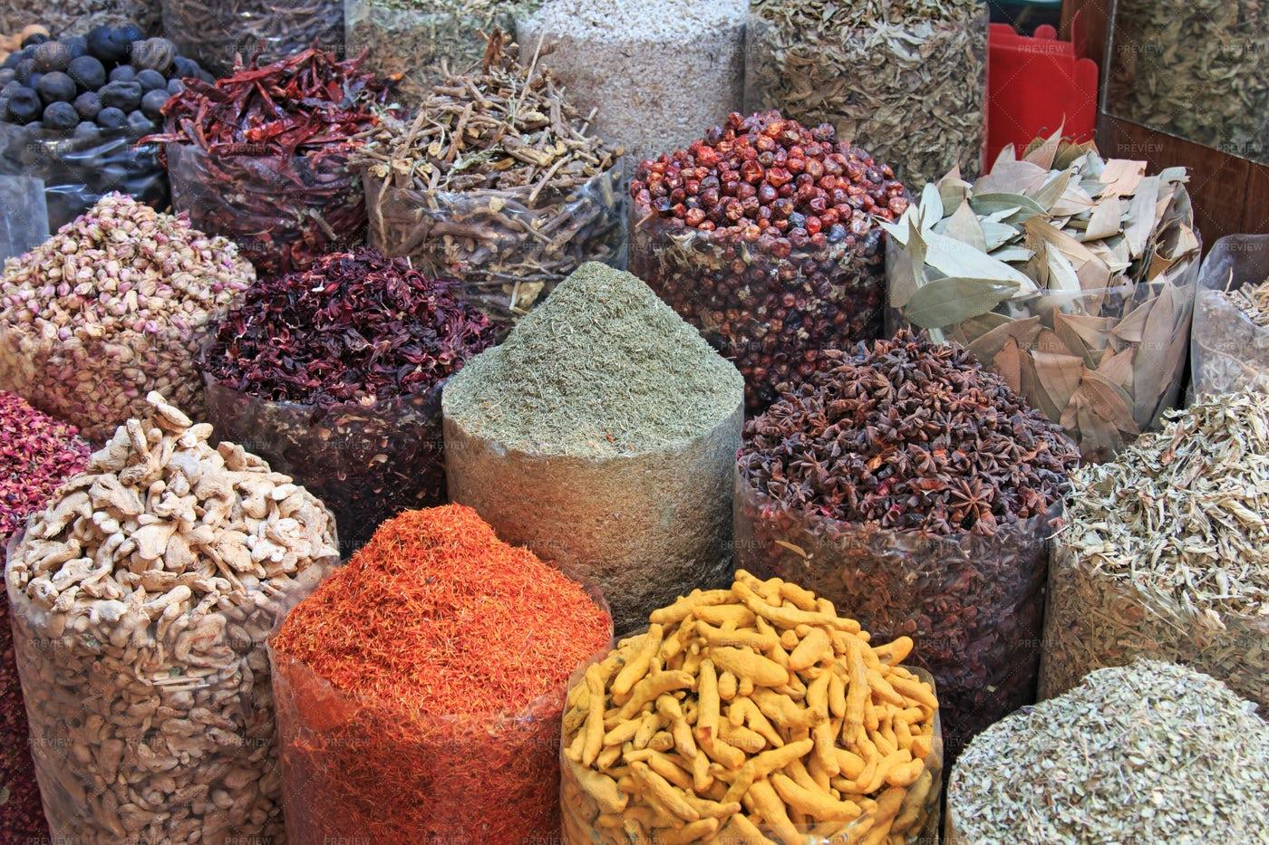 Spices In Sacks: Stock Photos