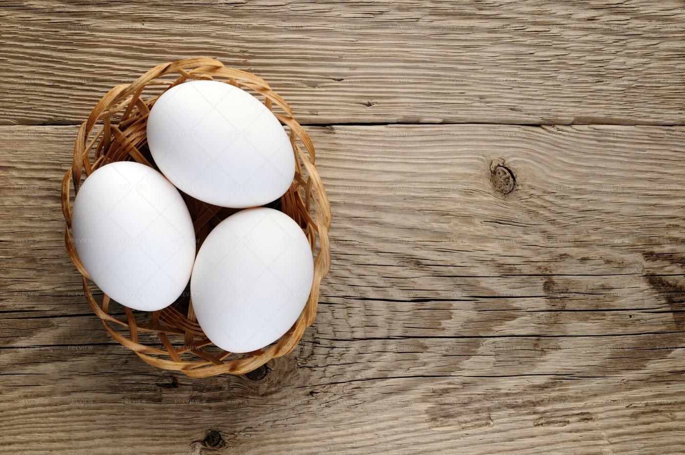 White Eggs In Basket: Stock Photos