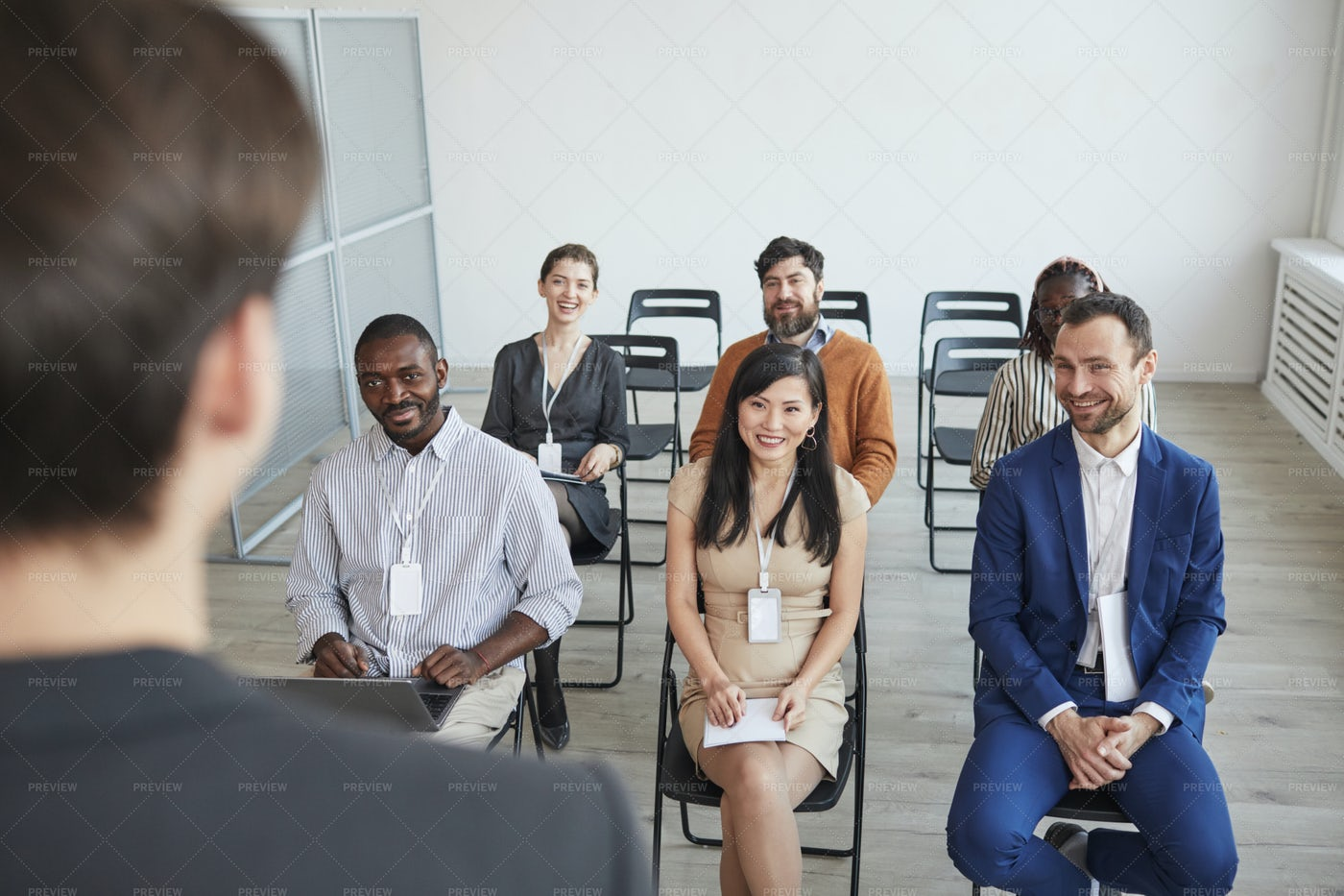 Smiling People At Business Conference: Stock Photos