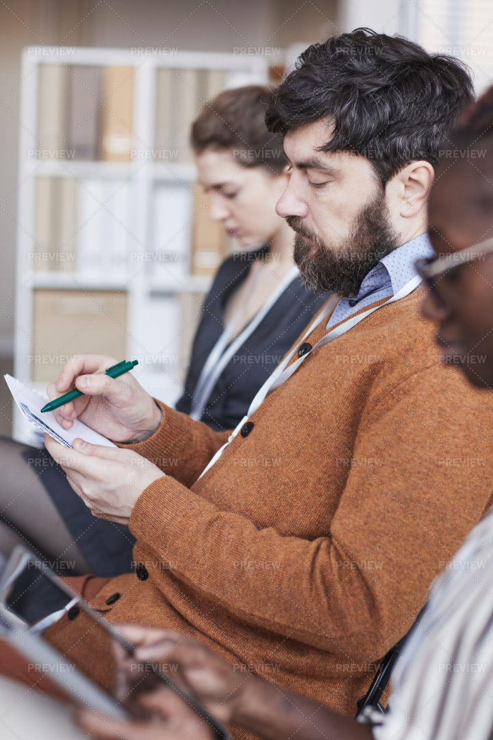 Taking Notes At Conference: Stock Photos
