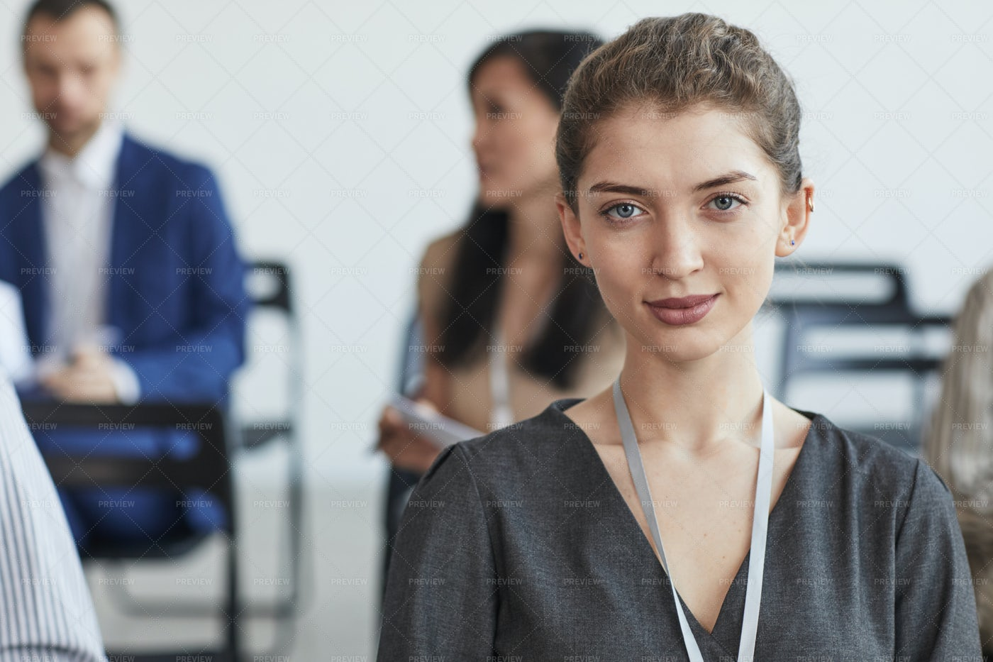 Young Businesswoman In Audience: Stock Photos