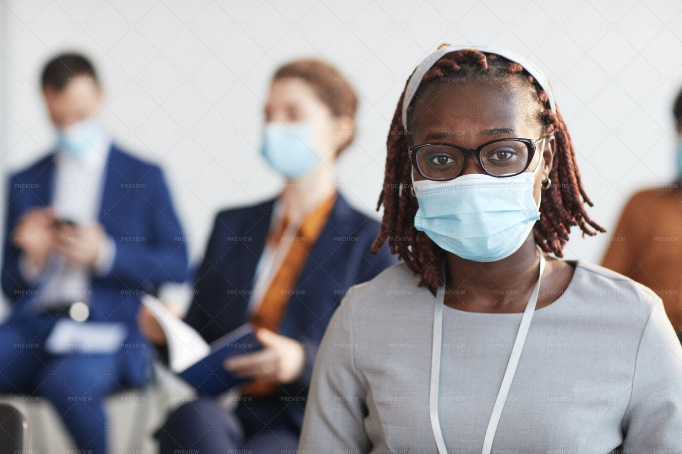 Businesswoman In A Mask: Stock Photos
