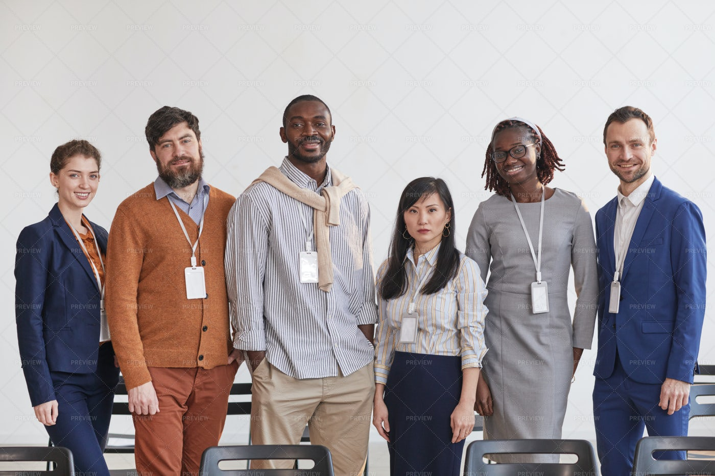 Team Of Business People In Row: Stock Photos