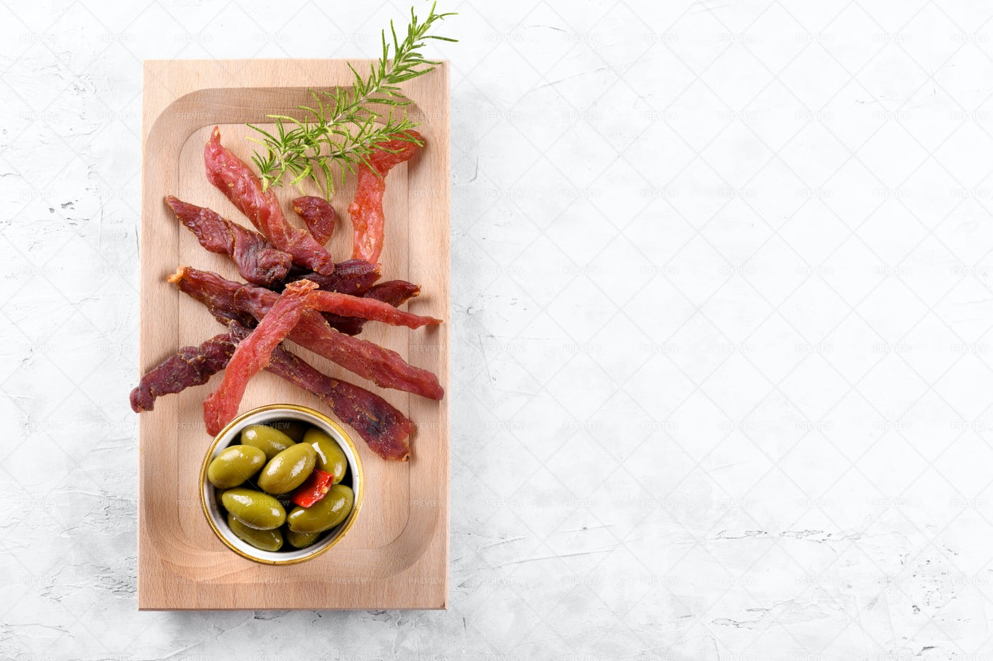 Jerky Meat With Spices: Stock Photos