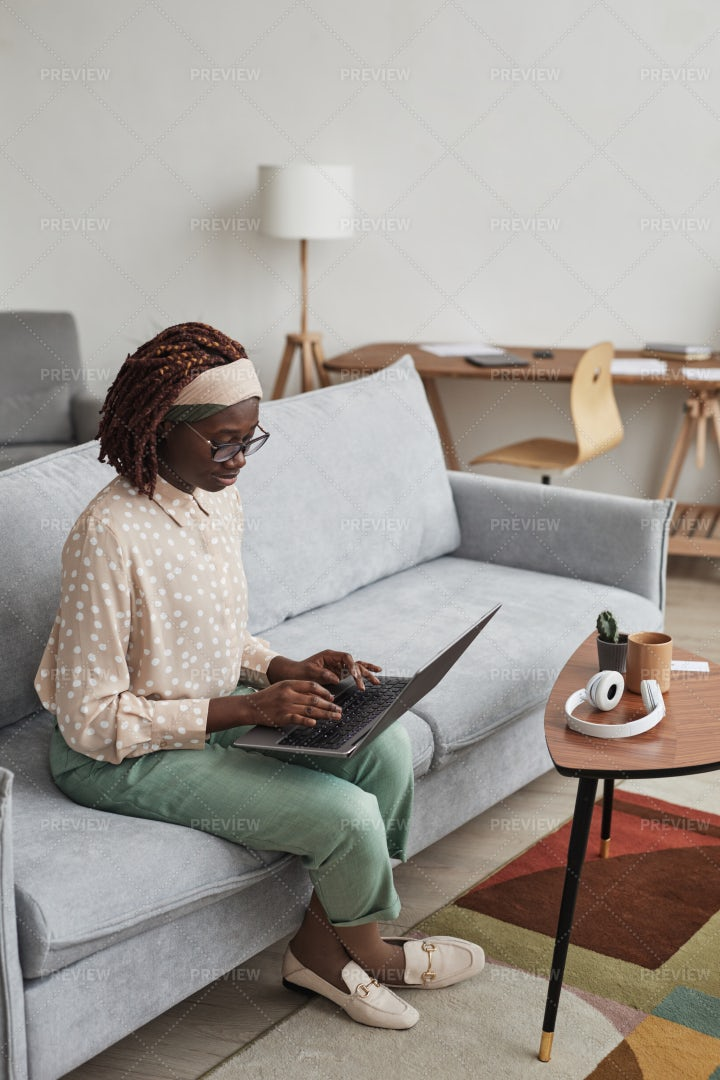Woman With Laptop At Home: Stock Photos