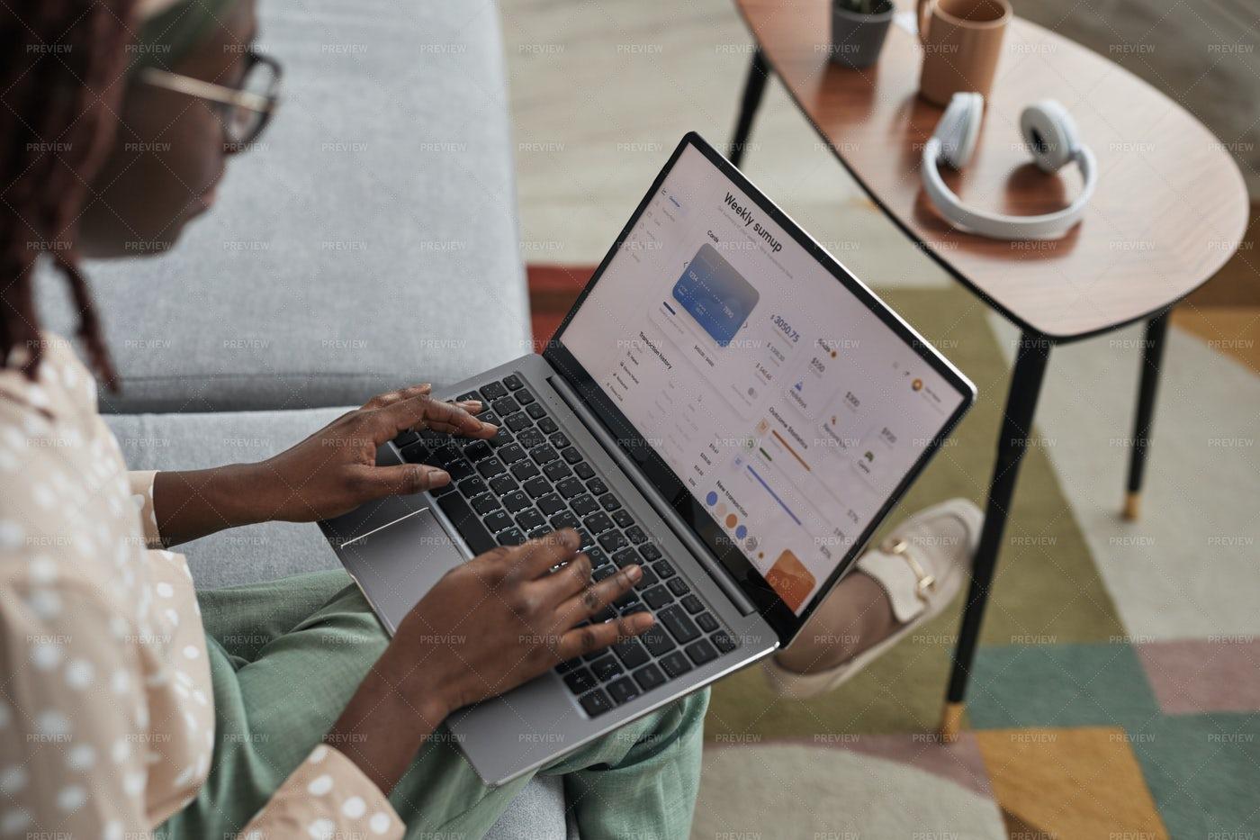 Banking Service On Laptop Screen: Stock Photos