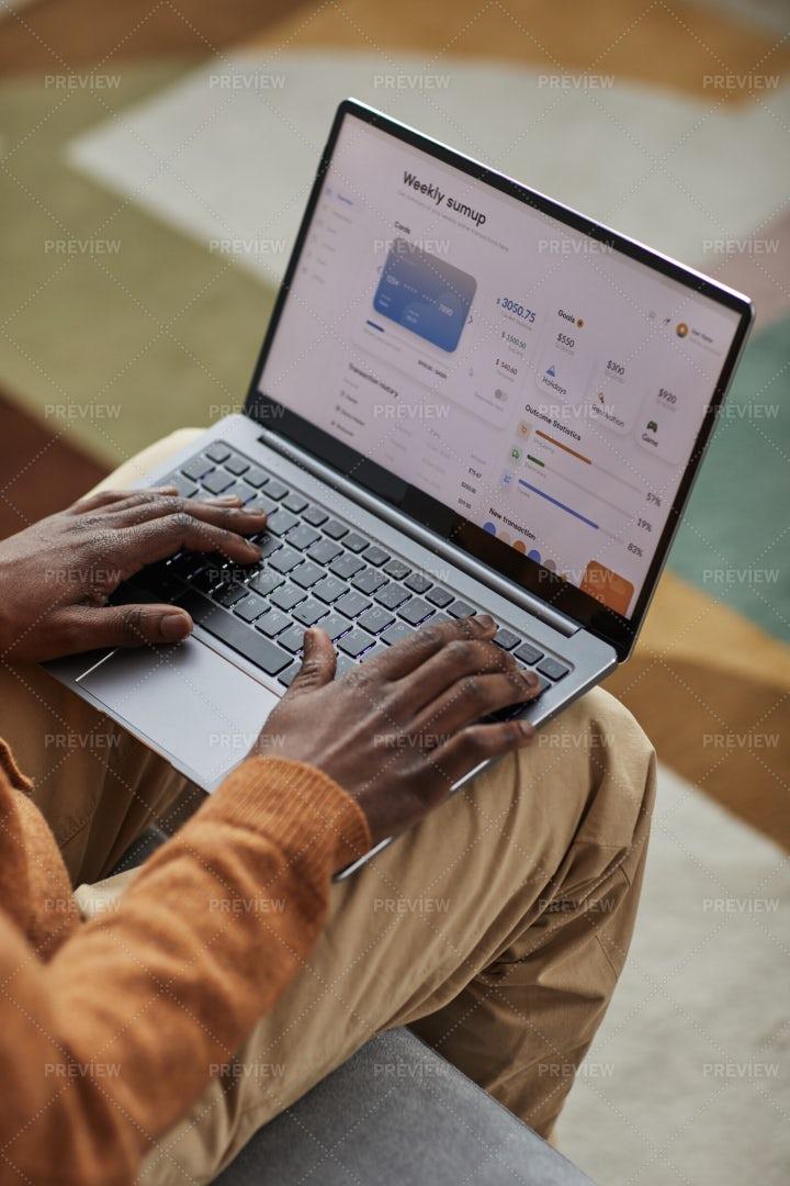 Man Using Online Bank: Stock Photos