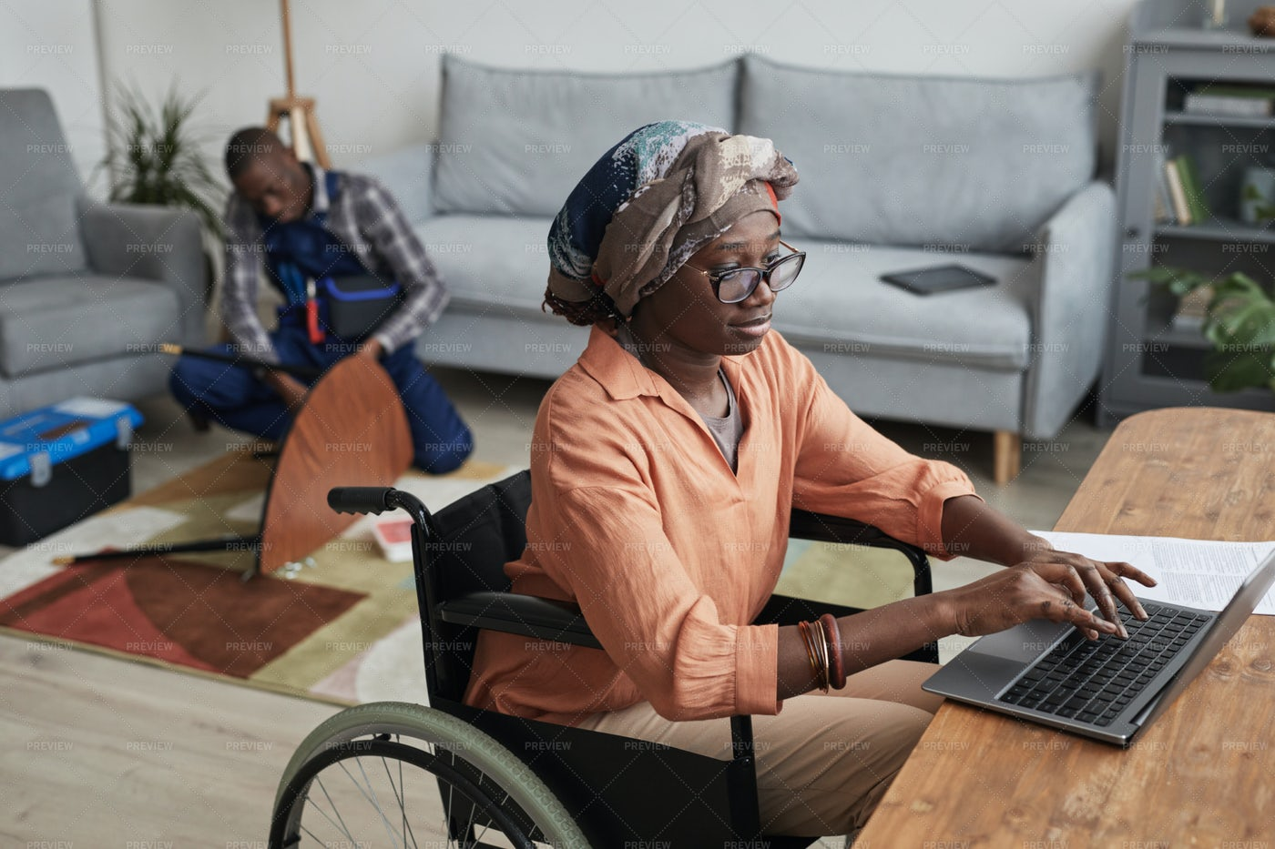 Home Repair Services For Disabled Woman: Stock Photos
