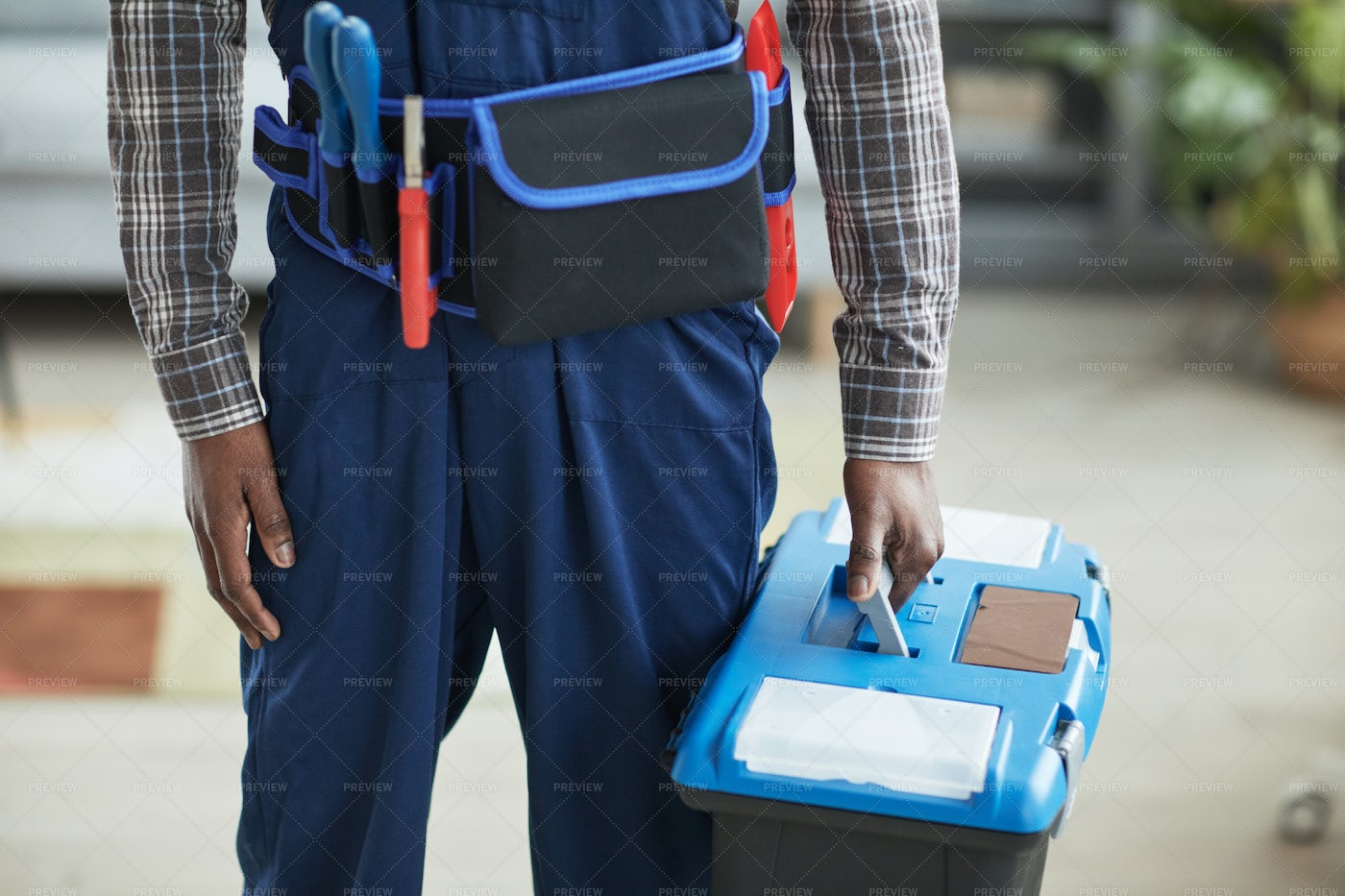 Worker Holding Toolbox: Stock Photos