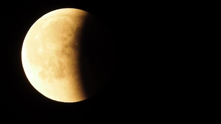 Red Moon During Lunar Eclipse: Stock Video