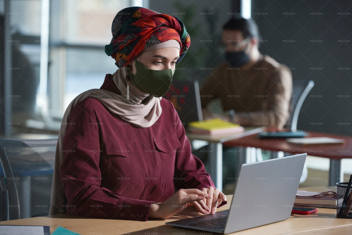 Woman Working At Her Workplace: Stock Photos