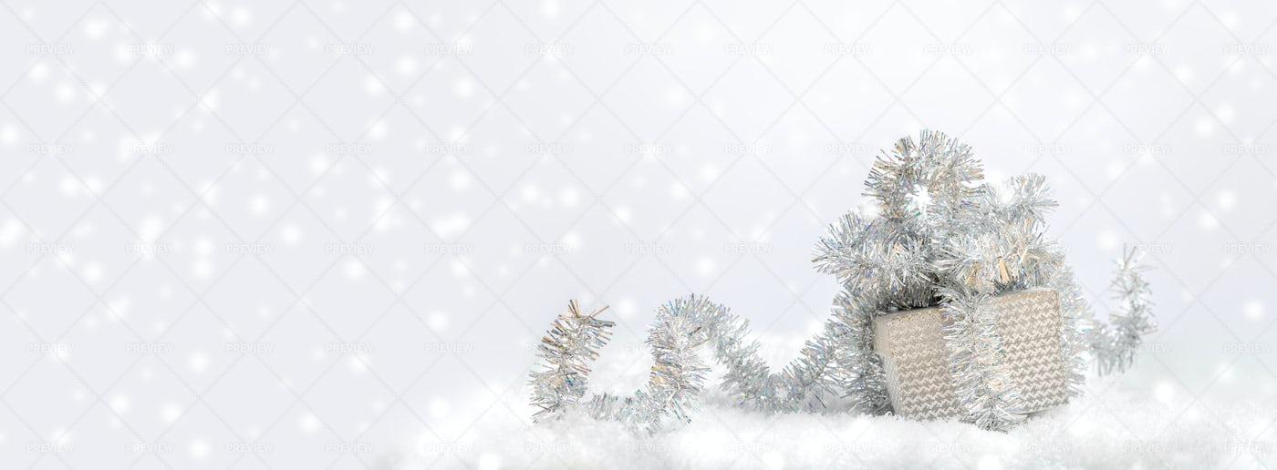 Festive Christmas Silver Banner: Stock Photos