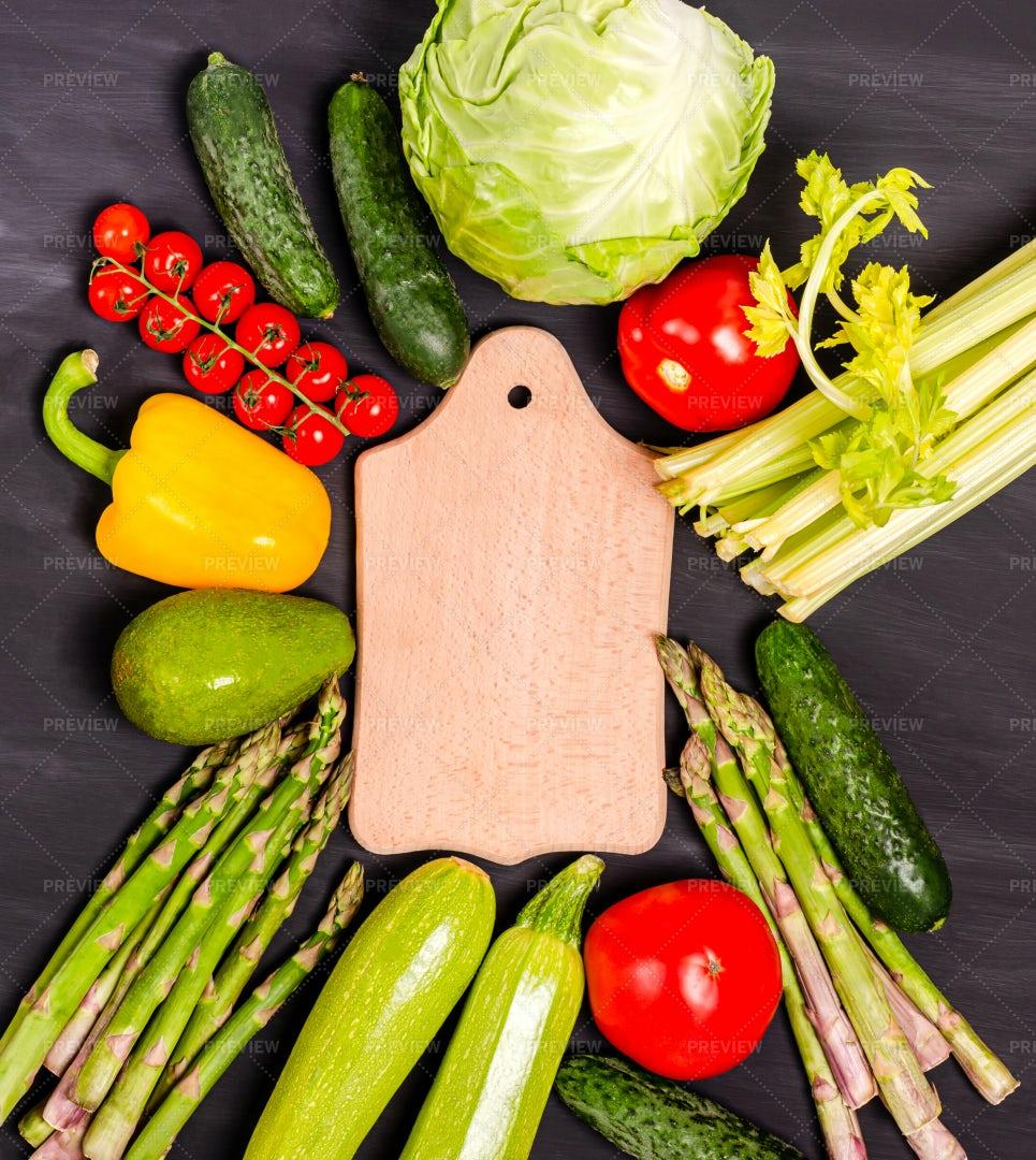 Vegetables As Board Frame: Stock Photos