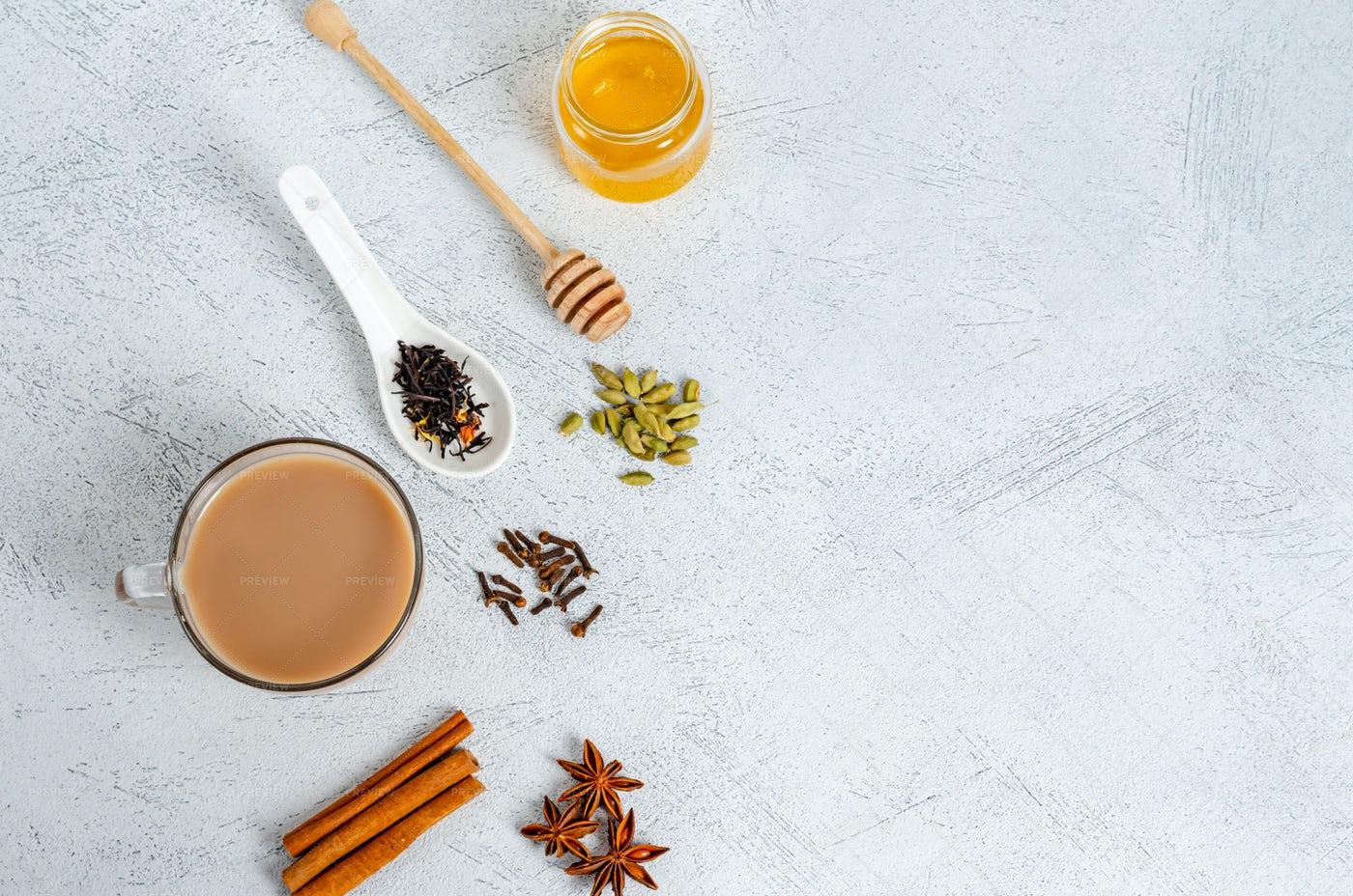 Masala Tea With Ingredients: Stock Photos