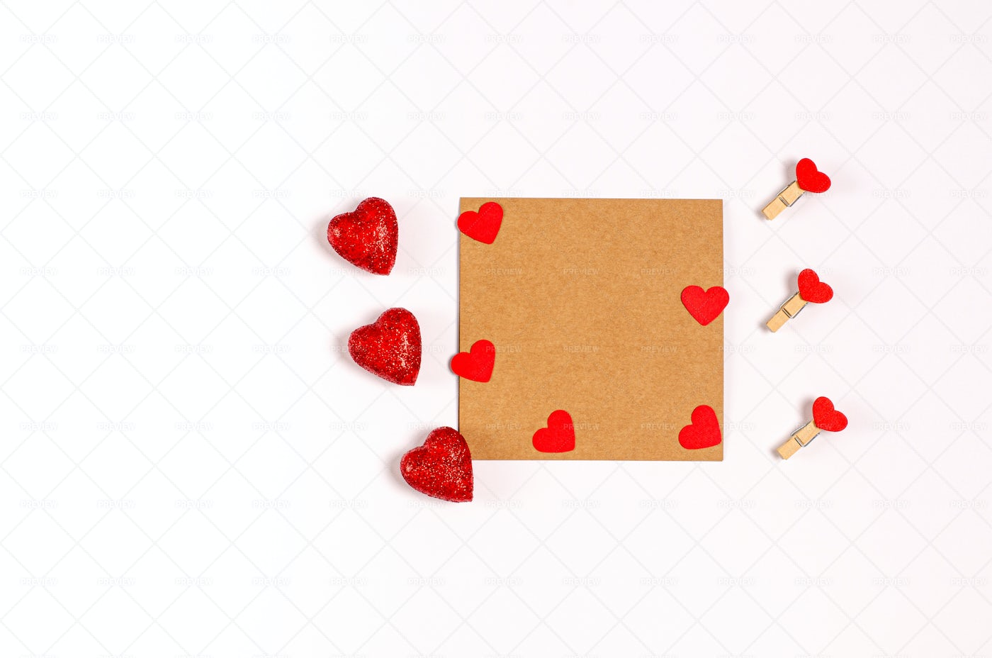 Hearts On A Greeting Card: Stock Photos