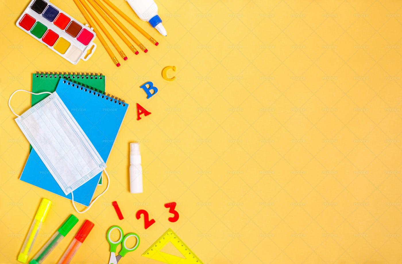 Various Stationery For School: Stock Photos
